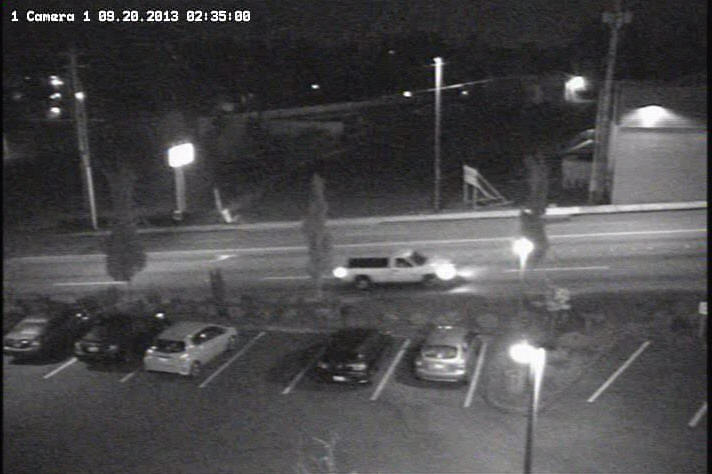 These two surveillance photos were taken of the suspect vehicle as it was fleeing the accident scene.