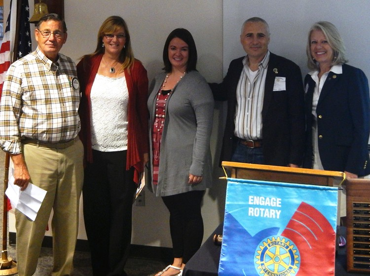 From left, Bill MacDonald, Community Service Chair of the Daybreakers; Susan Camerer, Executive Director of Vision House; Kristi Slattery, Volunteer Coordinator of Jacob's Well; Gene Lipitz, President, Lake Union Rotary Club; Mary Petrie, Community Service Chair, Lake Union Rotary Club.