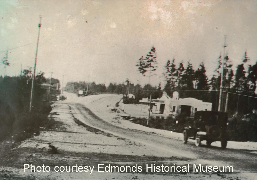 Photograph 307.7, Cornish Garage, looking north on North Trunk Road, at King-Snohomish County Line (present site of Campbell Nelson VW).