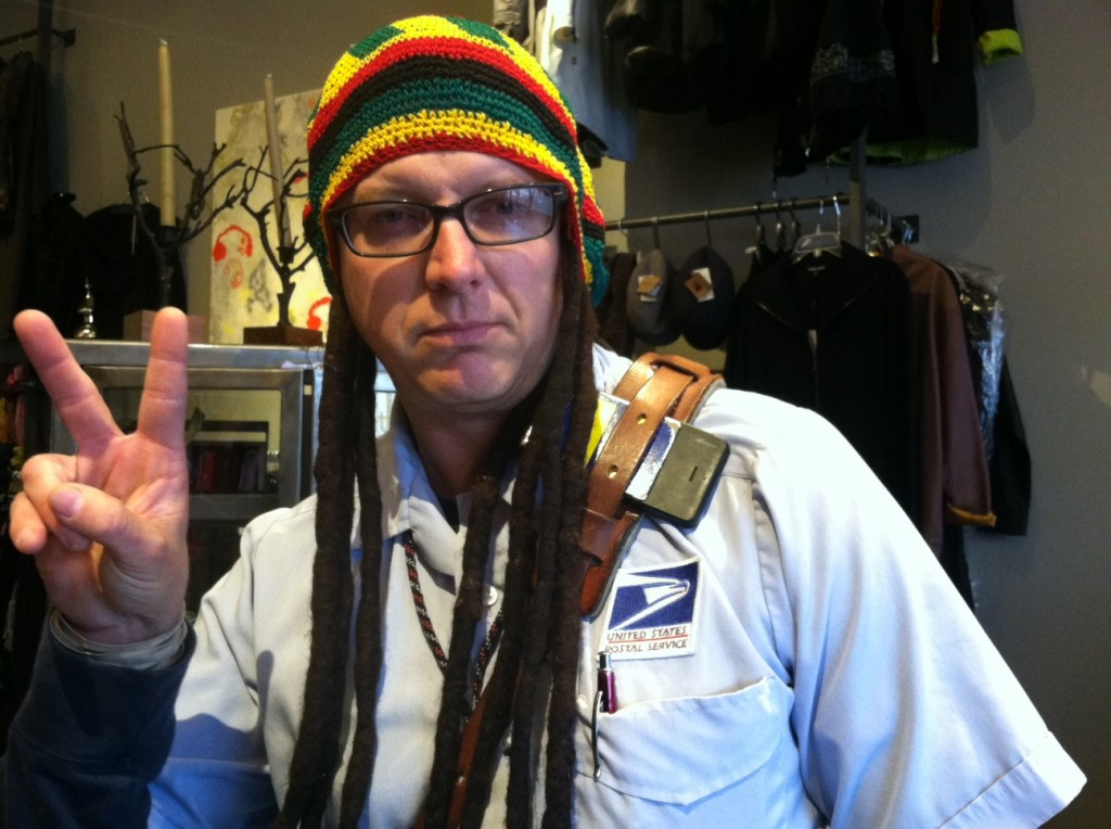 "From Julie Van Tosh, a photo of ""Bob Marley"" at Saetia in downtown Edmonds. His real name is Scott and didn't want to give a last name, but he is a real U.S. Postal Service mail carrier, Van Tosh said."