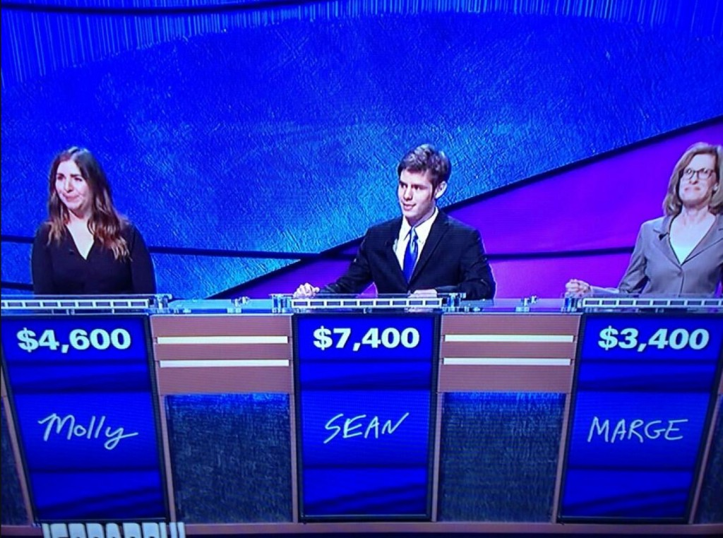 "A screen shot of Sean Kram on ""Jeopardy"" Tuesday night."