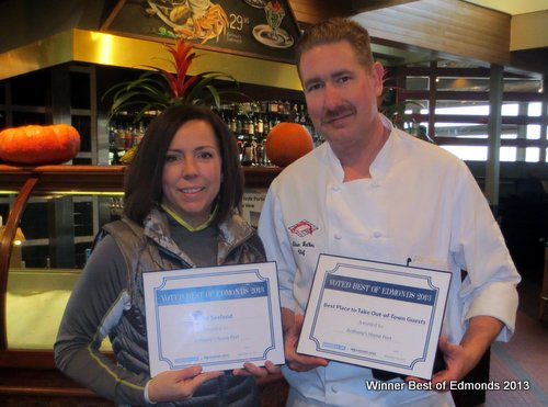 General Manager Dawn Bergau and  Chef Shawn Walker of Anthony's Homeport, winner of Best Place to Take Out of Town Guests and Best Seafood.