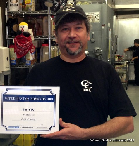 Steve Freeman, owner of Celtic Cowboy BBQ, winner of -- what else? -- best barbecue.
