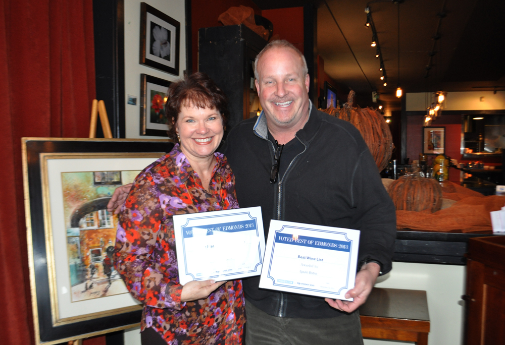 Maggie Peterson with Tim Morris, owner of Epulo -- Best Place for a Date Night.