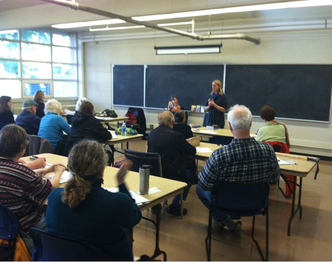 Josephine Ensign, standing, and Waverly Fitzgerald, spoke at EPIC's workshop on Saturday.