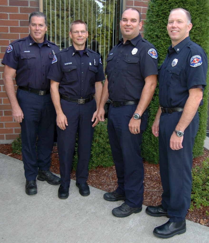 From left, Capt. John Magee, Paul Easter, Chris East and Capt. Gene Smith have been promoted to the new position of 24-hour Medical Services Officer in Snohomish County Fire District 1.