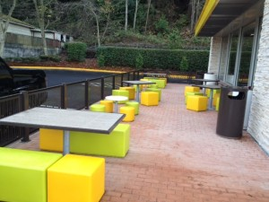 The outdoor seating area at the new Westgate McDonald's.