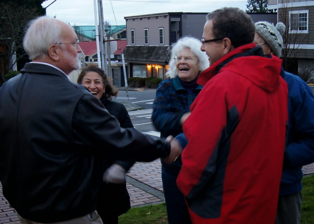 Edmonds Mayor Dave Earling, who spoke at the ceremony, visits with attendees prior to the menorah lighting.