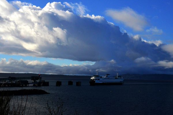 From Larry Vogel, late afternoon clouds on the Edmonds waterfront.