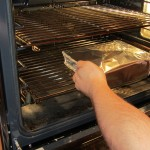 Cover the baking dish with foil, then bake in a preheated 350 degree oven for 25 minutes.