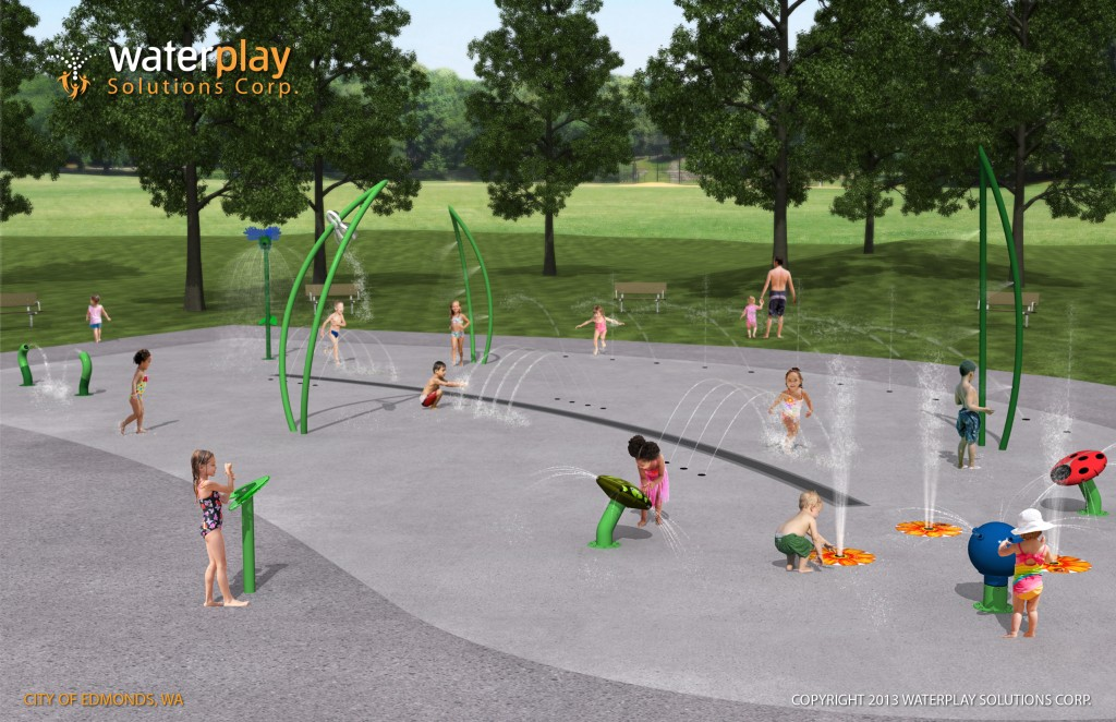 Here's the artist's rendering of the spray play pad planned for City Park in downtown Edmonds. The spray pad will feature specific areas designed for toddlers, families and teens. The project is scheduled to be completed this summer.
