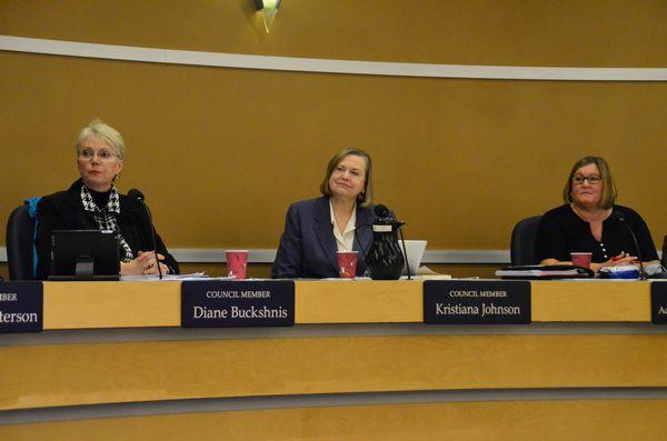 From left, new Council President Diane Buckshnis, President Pro Tem Kristiana Johnson and Councilmember Adrienne Fraley-Monillas. (Photo by Larry Vogel)