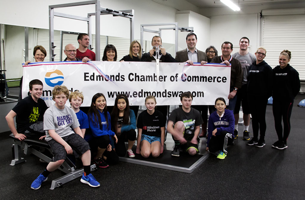 The Edmonds Chamber of Commerce hosted a ribbon cutting for Absolute Fitness Sports Performance and owner Jeff Miller. The business is located at 6925 216th St. S.W. , Lynnwood. (Photo by Renate Kleinart)