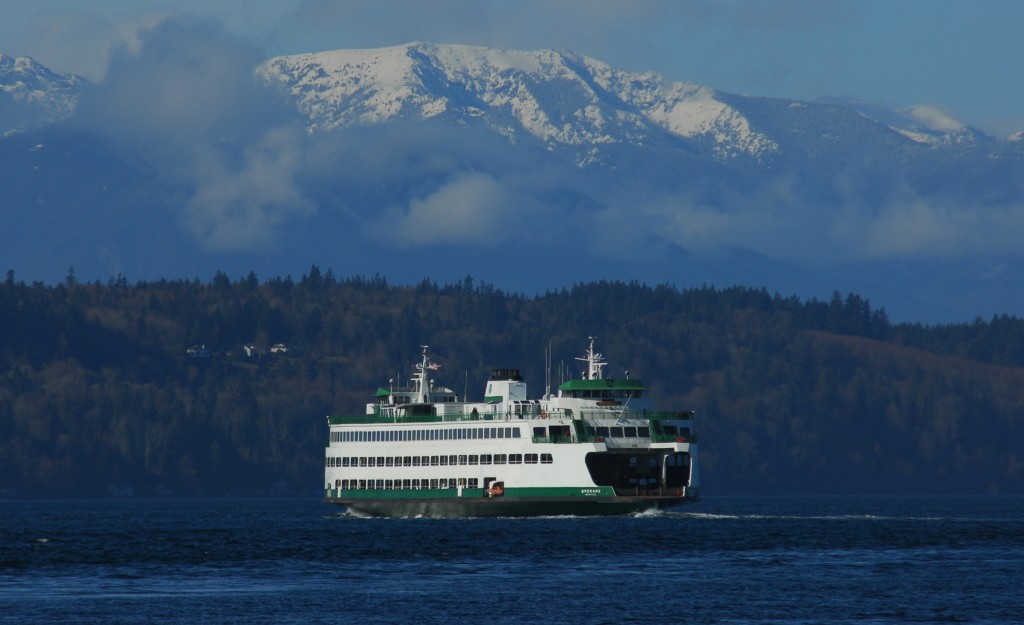 From Ken SJodin, the snowy Olympics as a backdrop for the Edmonds ferry Thursday.