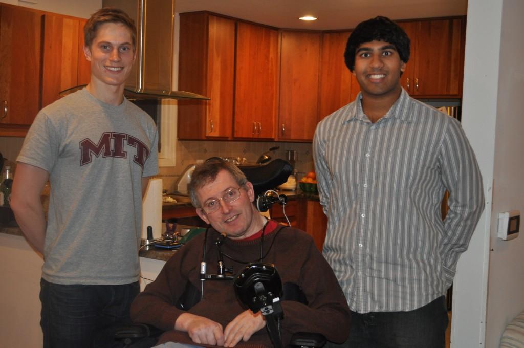E-W grad Alex Springer, left, and fellow student Vineel Chakradhar with retired professor Michael Ogg.