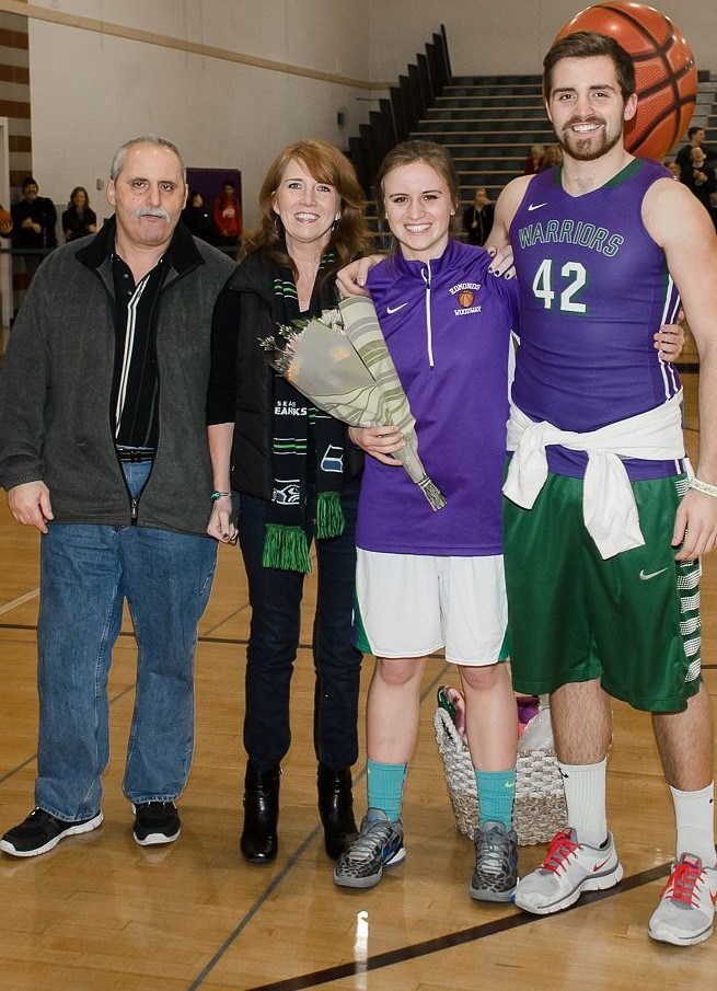 Victoria Lebesis with her parents and brother Theo.