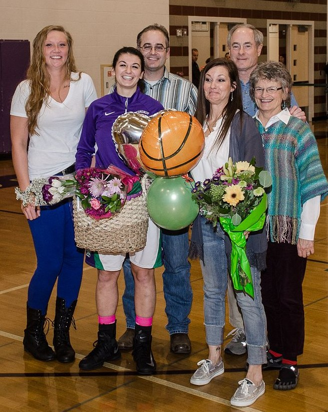Senior Maddy Nealey with parents Keith and Julie Nealey, friend (and former E-W) player Ashley Albertson, left, and Nealey's grandparents.