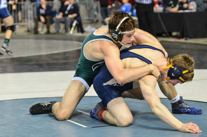 Nathan Vulliet gets the winning takedown vs. Wyatt Nemec of Mead in the semifinal round.