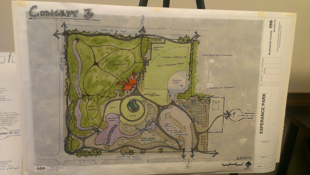 The dark green area represents the existing woods, the ball field is pretty easy to spot on the upper right, the parking lot is always in the lower right corner, the red is the playground area, and the blue/purple color is the off-leash dog park.