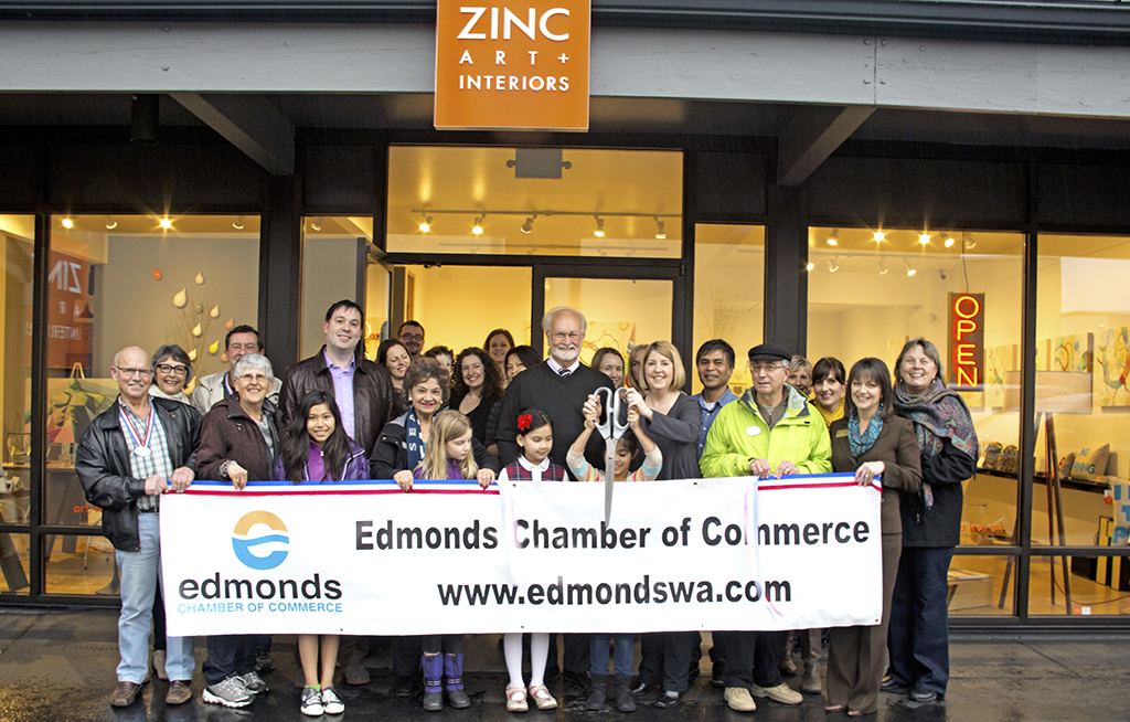 The Edmonds Chamber of Commerce cut the ribbon Friday for Zinc Interior Concepts, 102 3rd Ave. S., in downtown Edmonds.