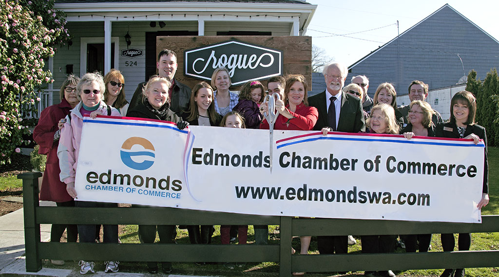 The Edmonds Chamber of Commerce cut the ribbon for two businesses: Friday, at new women's clothing store Rogue (524 Main St.) and Thursday at Gallery North's new location (401 Main St.)