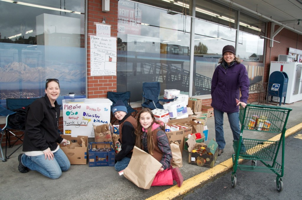 "Julia Wiese wanted to acknowledge the dedication of these young ladies who set up outside the downtown Edmonds IGA store on Saturday, handing shoppers a list of items they were collecting for the Oso Soup Kitchen, benefiting victims of the March 22 mudslide. ""Since I was just heading in to pick up some pasta, I choose that off the list and filled up a grocery bag. I just wanted to give them kudos for their efforts as well as IGA for allowing them to set up outside their door,"" Wiese said."