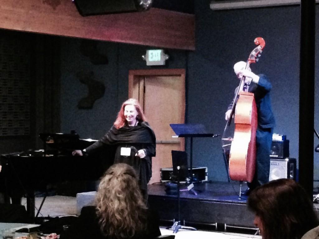 Kathy Kosins, jazz vocalist delights the crowd, accompanied by Jay Leonhart
