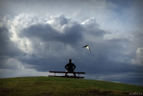 Bret Streeter of Edmonds enjoys seeing a kite fly at  Marina Beach earlier this year. (Photo by David Carlos)