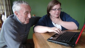 Maurice O'Regan and Mary Magner research their family history.
