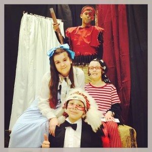 Edmonds Elementary students in Peter Pan: Wendy is Ryane (6th grade), Pirate is Shannon (5th grade), Indian is Cole (5th grade), Indian Chief is Lucas (6th grade).
