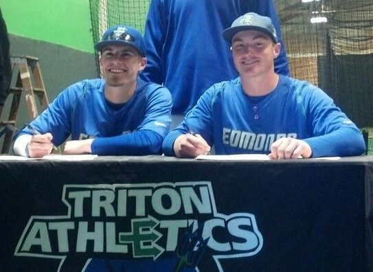 Edmonds Community College posted this photo of sophomore baseball players Ryan Budnick, right, and  TC Florentine signing their National Letters of Intent to Santa Clara University. Budnick, who plays first base for the Tritons, is a 2012 Edmonds-Woodway High School graduate. Florentine is an outfielder from Woodinville High School.