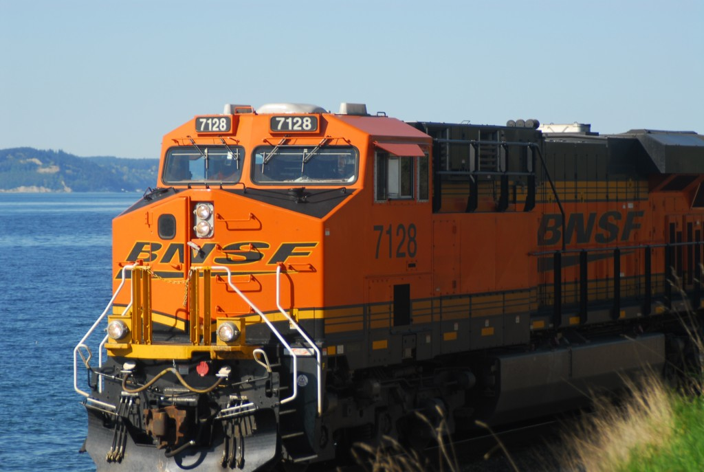 From Ken Sjodin, a train passing by the waterfront.