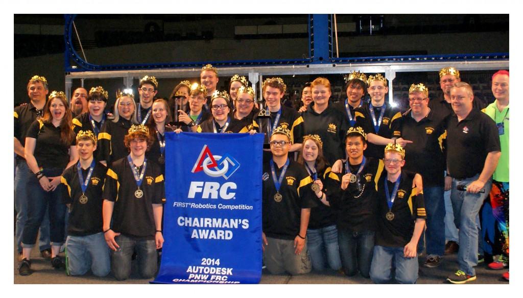 Lynnwood High's Royal Robotics after winning the Chairman's Award.