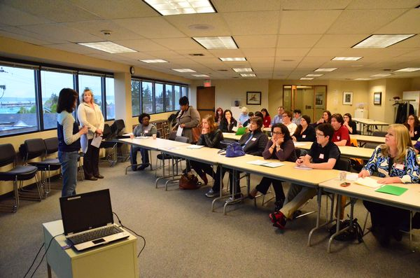 - Sister City Commissioner Michelle Van Tassel and trip chaperone Karyn Heinekin address this year's group of sister city exchange students and their parents in the first of several orientation meetings to prepare the group for their two-week stay in Hekinan, Japan later this summer.