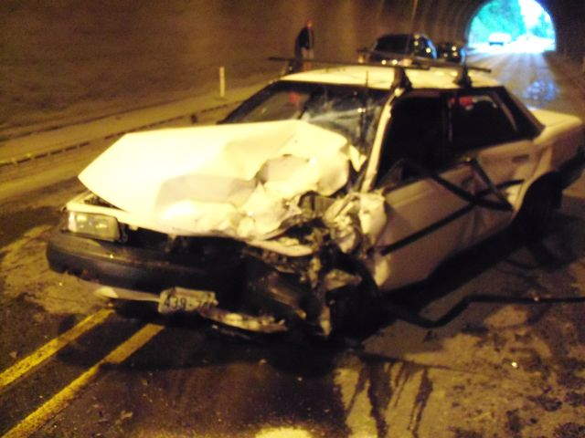 This photo provided by the Oregon State Police shows a 1990 Toyota Camry after it was involved in a crash in the Highway 26 tunnel west near the community of Manning Sunday, May 25.