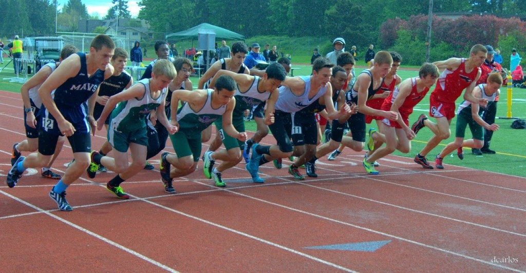 The start of the boys 1600 meters at Edmonds District Stadium Friday. (Photos by David Carlos)