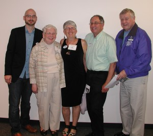 Honoring Francine Cohen (center) at the Chamber luncheon, from left: Greg Urban, Edmonds Chamber President and CEO; Mary Lou Kantor. Edmonds Kiwanis member;Cohen's husband Sidney and Ray Ault, Edmonds Kiwanis President.