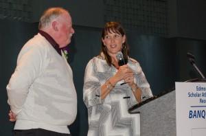 Athletic Director Julie Stroncek with Director's Award winner Mike Pittis.