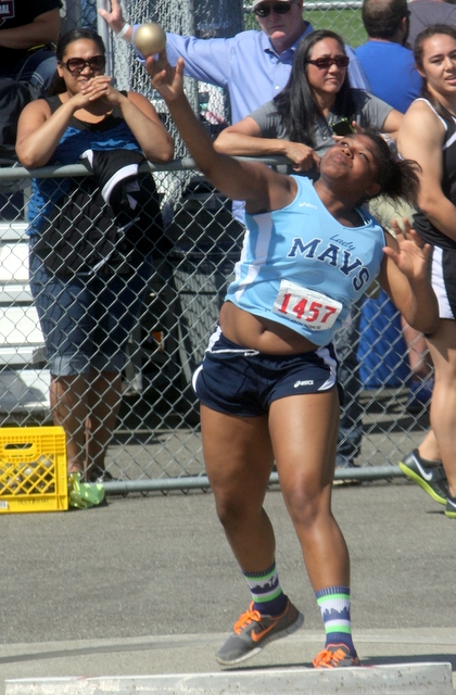 Meadowdale's Dee Dee Free took 10th place in the shot put at the 3A State Track and Field Championships.