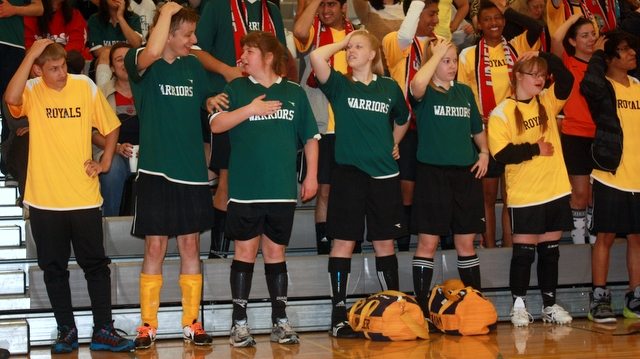 Members of the Lynnwood and Edmonds-Woodway High School teams played a game of Simon says.