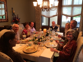 The guests, from left, Sue Earling (back to the camera), Bob Rinehart, Carolyn Echelbarger, Greg Hoff, Dave Earling, Joelle Hoff, Lindsey Echelbarger and Silvana Rinehart.