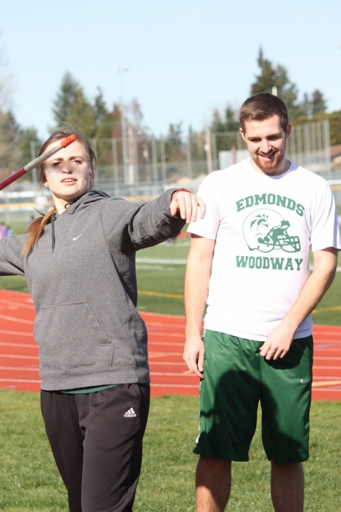 Victoria and Theo Lebesis, one of four sets of twins on the Edmonds-Woodway track team. (Photo by Jennifer Budnick)