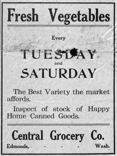 Business advertisements placed in the May 25, 1916 issue of the Edmonds Examiner.
