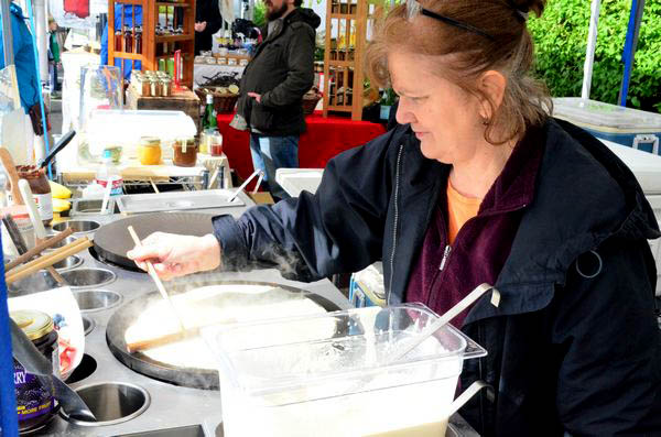 Nothing like hot crepes off the grill to warm you up on a rainy Northwest morning.