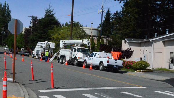 Crews from Snohomish County PUD are on site making preliminary preparations to underground power and other utility lines.