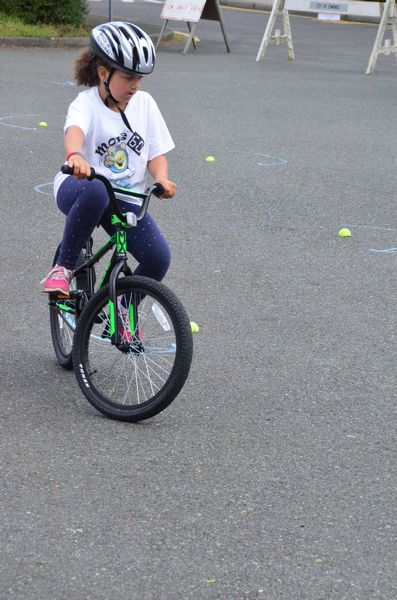 The bicycle rodeo was one of the busiest places at the Fitness Expo, requiring good speed control and precise turning to get through the obstacle course.