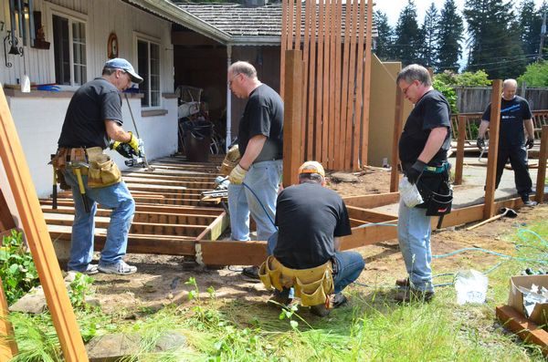 "The old saying ""many hands make for light work"" was in evidence today as the Chermak crews pitched in to build a wheelchair-accessible ramp for 90-year-old Fred Snow.  Also boosting everyone's spirits and energy was the knowledge that as a result of their work Mr. Snow will enjoy a degree of independence he hasn't known for many years."