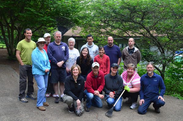 Jesse Curran, Parks Department horticulturalist (right front) directed the group's efforts.