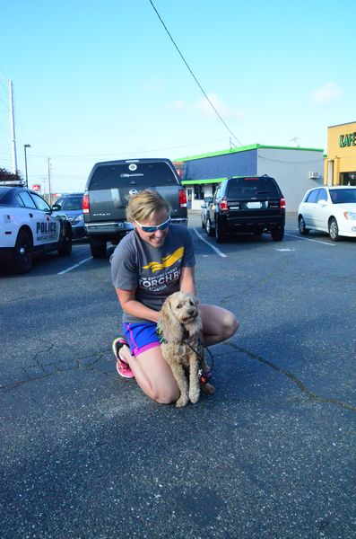 Edmonds PD's Michelle Poff and canine pal Maui get ready for the run.  This is Maui's fifth Special Olympics torch run with the Edmonds Police Department.