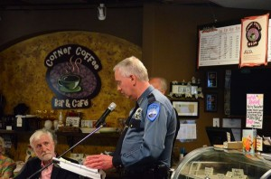 Edmonds Police Chief Al Compaan speaks to attendees at the Perrinville town hall meeting Thursday. (Photo by Larry Vogel)